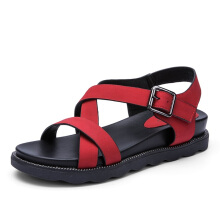 AOKANG 2018 Summer shoes woman casual fashion women sandals comfortable leisure wedges platform sandals red