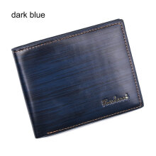 COZIME Fashion Men Short Style Soft PU Leather Business Credit Cards Organizer Wallet Dark Blue
