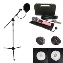 Microphone Kabel Stand Mic Pop Filter Mikrofon Cover (4 pcs) PNK
