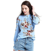 BESSKY Women's Floral Print Long Sleeve Stand Collar Casual Shirt Blouse Tops _