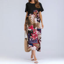 Women Short Sleeve Ruched Casual Thin Floral Cotton Loose Bohe Long Dress Kaftan_L