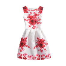SESIBI Size 130~160 Girls Dresses Children Summer Dress Princess Costume Teens Fashion Printing Wear - Passionate Red Flowers -