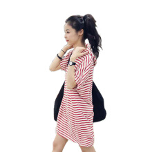 SiYing fashion ladies Korean version of the loose large size hooded bat sleeve striped dress