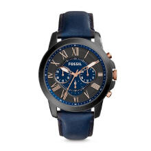 Fossil Grant Chronograph Navy Leather Strap [FS5061] Multicolor