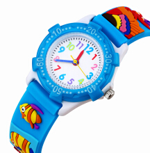 Keymao Tropical fish Waterproof 3D Cute Cartoon Silicone Wristwatches Gift for Little Girls Boy Kids Children Blue