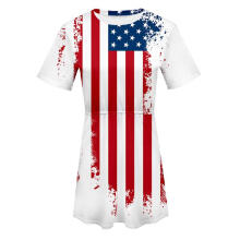 Maodapa Women American Flag USA Short Sleeve O Neck Print Elastic Ladies Dress