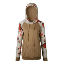 Farfi Casual Women Rose Printed Long Sleeve Drawstring Front Pocket Hoodie Pullover