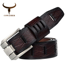 COWATHER cow genuine luxury leather men belts for men strap male pin buckle