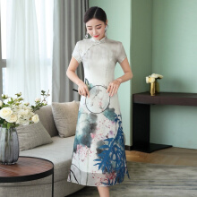 Allgood Fashion Summer Women Dress Cheongsam Chiffon Slim Sleeve Landscape Painting Elegant casual Long Dresses