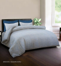 KING RABBIT Bedcover Double Motif Brooks Squer - Biru/ 230 x 230cm Grey