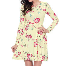 Maodapa Womens Loose Casual Long Sleeve Flora Print Swing Tank Short Mini Dress