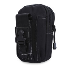 Water Resistant Buckle Zipper Outdoor Activity Sport Cell Phone Waist Bag for Unisex Men Women Black