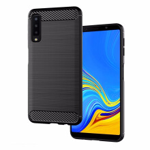 TM Case Carbon Ipaky TPU Softshell Cover Case For Samsung A7 (6.0 Inch) 2018 Black