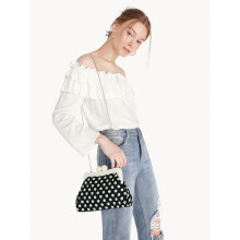 Polkadot Kiss Lock Cross Body Bag - Black [One Size]
