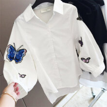 Elegant Embroidery Butterfly Shirt Long Sleeve Women Loose Shirt Daily Wear White M