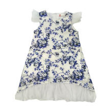 Tiny Button Tile Bunga Dress Anak - Putih Biru 3-4 tahun Brown