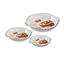 MARINEX Flute Pie Dish Small (3.9 x 17.9 x 20.2 cm) - Medium (4.7 x 22.8 x 25.7 cm) - Large (4.7 x 25.3 x 28.3 cm) Set of 3
