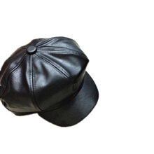 SiYing Korean version of the warm octagonal hat autumn and winter PU leather beret black