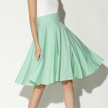 Jantens 2018 summer high waist zip skirt and knee long dress retro long skirt women pleated silk solid color