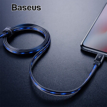 Baseus Flowing LED Glowing USB Charger Cable For iPhone X XS Max XR 2.4A Kabel Data For iPhone 8 7 6 6s Plus Fast Charging Cord