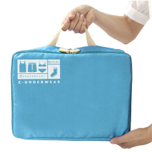 Good intention Korean version of the large zipper bag in the bag storage bag cosmetic bag sky blue