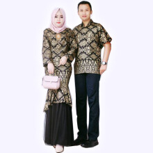 Zaviera - Couple Etnic Batik Mermaid Peplum Dress - Top With Mermaid Skirt Set Black L
