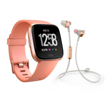 FITBIT Versa Smartwatch Peach Rose Gold + FITBIT Flyer Headphones Lunar Grey