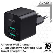 [free ongkir]AUKEY Mini Dual Port Wall Charger with Foldable Plug (PA-U32) - Black