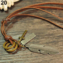 Farfi Men Women Leather Rope Anchor Leaf Shoe Key Feather Ring Pendant Cord Necklace