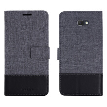 DELIVE Samsung Galaxy J7 Prime Case Canvas Stitching Leather Cover Flip Waller Card Slot Holster Phone Cover