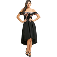 Kubon Floral Velvet Off Shoulder Dip Hem Dress Black M