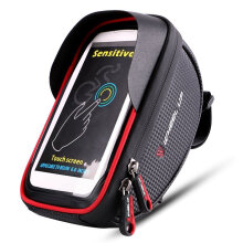 [OUTAD] WHEEL UP 360 Degree 6 Inch Waterproof Mobile Phone Pouch Touch Screen Bike Bag black