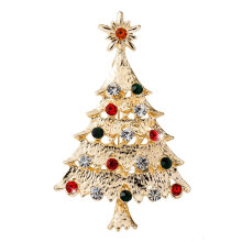 [COZIME] Multicolored Christmas Tree Brooch Delicate Alloy Crystal Rhinestone Pin Mainly Gold