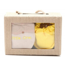 Cribcot Gift Set Booties Plain Scot Light Yellow & Mitten Little One Scotlite Yellow