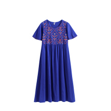 INMAN 1882102455 Dress A Line Retro Ethic Style Embroidery Women Mid Length Summer Dress