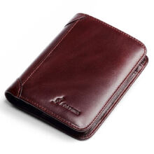 L'ALPINA 661052130 Men's leather Cowhide two fold horizontal section leather card holder wallet multi-function wallet-Dark Brown