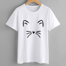 Jantens Summer Women's T-Shirt Cat Partten Fashion T-Shirt