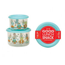 Sugar Booger Good Lunch Snack Containers Small Set of Two - Retro Robot