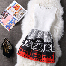 Korean women dress vintage printing dress women summer dress