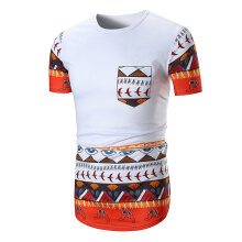 Summer Tops Men T-shirt Ethnic Style Printing Round Collar T-shirt with Pocket white XXL