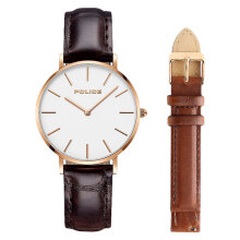 Police PL.15304BSR/01SET Men White Dial Dark Brown Leather Watch + Extra Strap [PL.15304BSR/01SET]