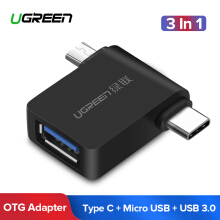 Ugreen USB 3.0 OTG Cable Adapter 2 in 1 Micro USB Adapter Type-C Cable Converter for Samsung Huawei Xiaomi Redmi Handphone HP Black