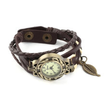 [LESHP]Fashion Retro Leaf Bracelet Watch Quartz Movement Wrist Girl Women Coffee