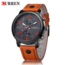 CURREN 8192 Men Watches Top Brand Luxury Leather Strap Quartz Watch