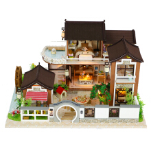 Jantens Miniature Dweling Miniaturas Wooden Dollhouse Furniture Building Kits Toys for Children Christmas Photo Color