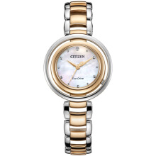 CITIZEN Eco-Drive Watch EM0666-89D White Dial with Silver Gold Steel Strap
