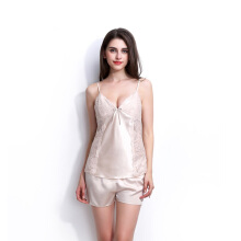 Newlan Solid color satin chiffon women pajamas set Chemise sleeveless lace pajamas with sexy shorts