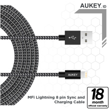 Aukey Cable 2M Lightning Braided MFI Apple - 500172