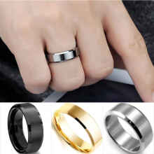 Gemstone - Cincin Titanium  Simpel Elegan Ring Black Silver Gold Couple - Size 8
