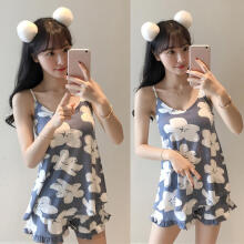 Farfi Fashion Lovely Flower Floral Sleeveless Top Shorts Women Sleepwear Pajamas Set Blue XL